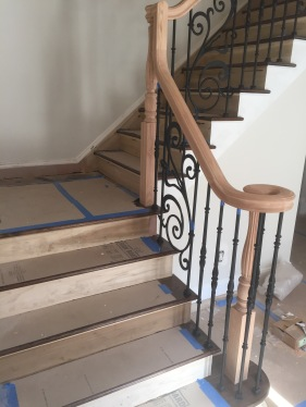 Red Oak treads, poplar stringer and risers.