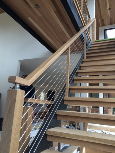 500' Stainless cable with 7 white oak support balusters
