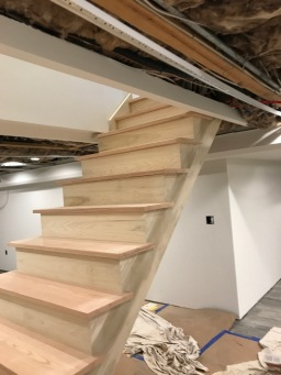 Stair materials: Poplar Stringers and risers, red oak treads.