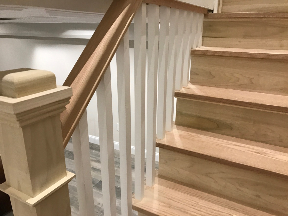 Poplar Stringers and risers, red oak treads. Railing – 6210 profile railing, red oak, 2 posts P14090 poplar