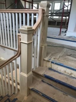 Red oak stringers and the risers, red oak square treads.