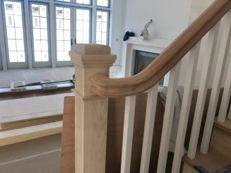 6710 profile railing, 4091 post poplar and 1 ¾ x 1 ¾ white primed balusters